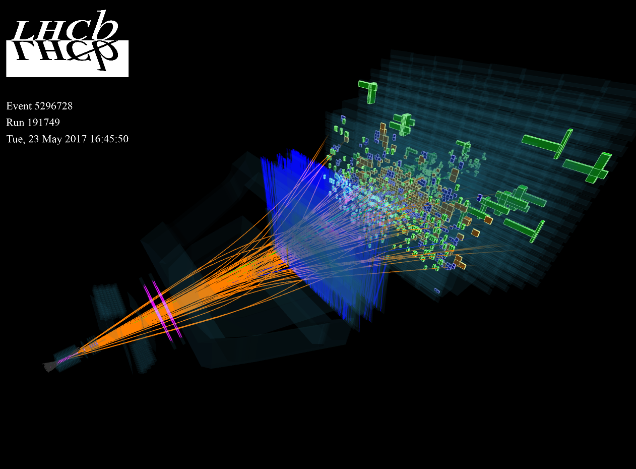A proton-proton collision recorded by LHCb from May 2017